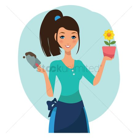Flower pot : Woman holding flower pot