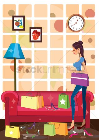 Lifestyle : Woman in a living room with many shopping bags