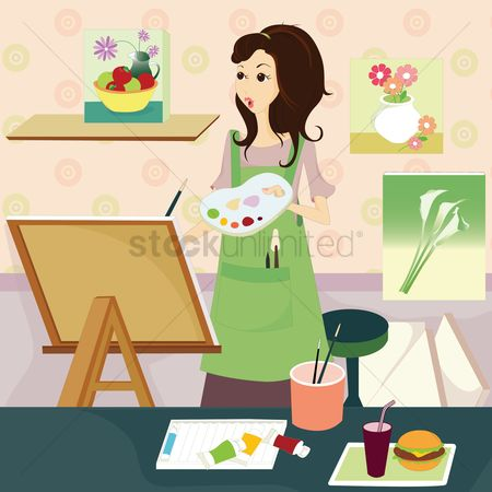 Lifestyle : Woman painting