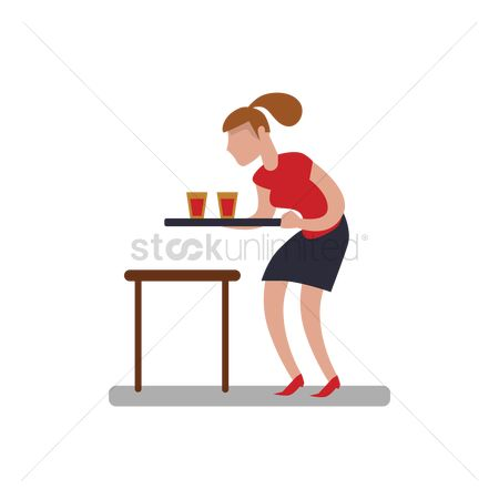 Servings : Woman serving drinks