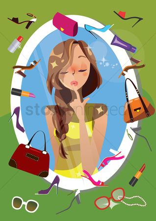 Cosmetic : Woman thinking about accessories in front of a mirror