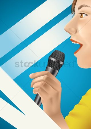 Broadcasting : Woman using a microphone