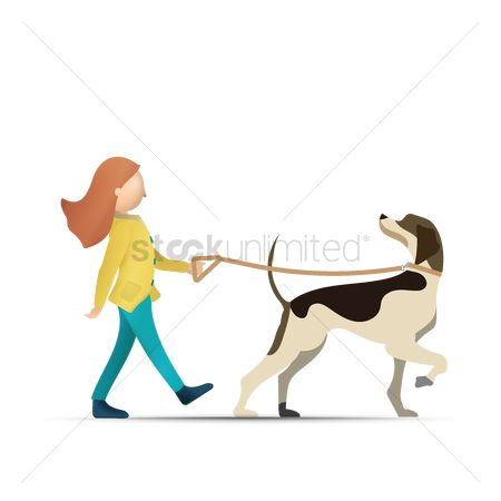 Activities : Woman walking with dog