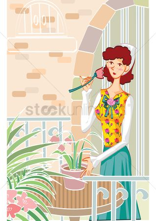 Flower pot : Woman with a flower pot