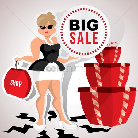 Shops : Woman with big sale poster
