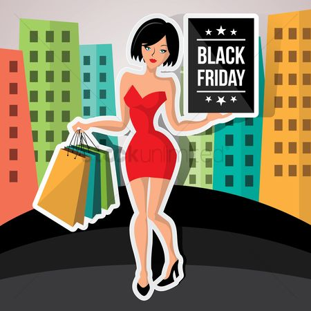Black friday : Woman with black friday poster