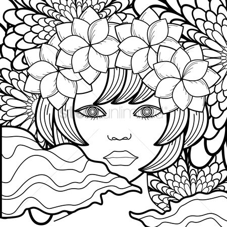 Coloring : Woman with flowers design