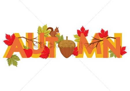 Apple : Word autumn with maple leaves