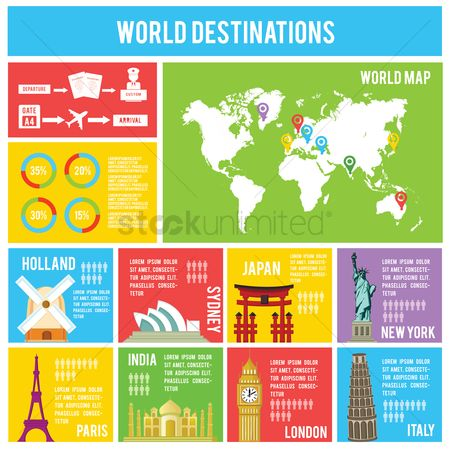 Map pointer : World destinations infographic