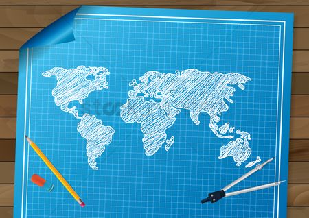 Compass : World map drawing design