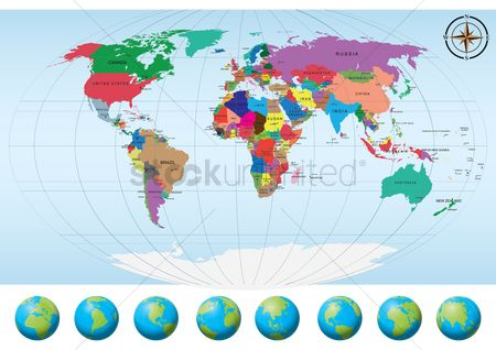 America : World map with globes