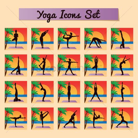 Arm : Yoga icon set