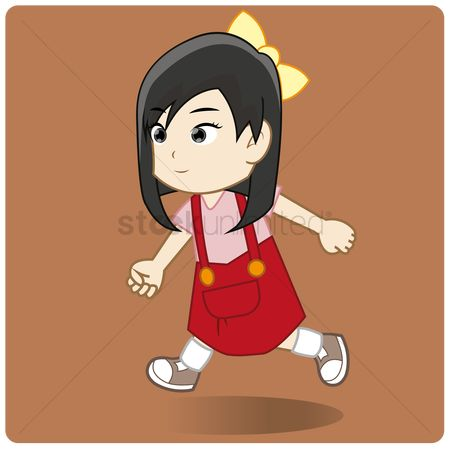 Skirt : Young girl in red skirt jumpsuit running