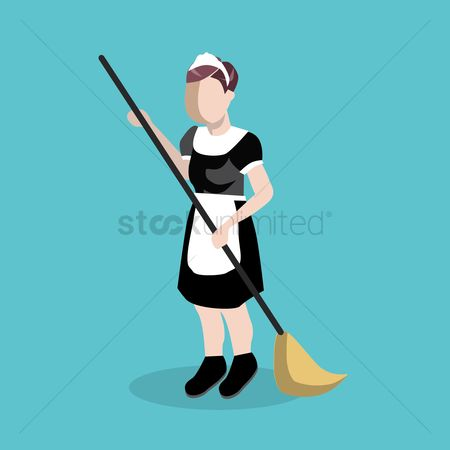 Brooms : Young woman avatar cleaning