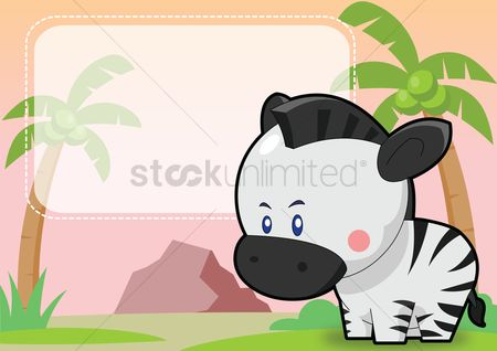 Grass background : Zebra on a label