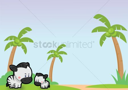 Grass background : Zebras over a sky background