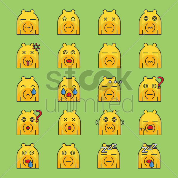 a set of bear emoticon showing different facial expressions vector graphic