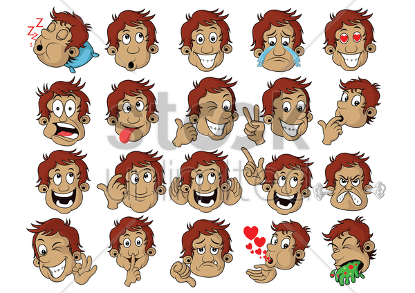 a set of boy emoticon showing various facial expressions vector graphic