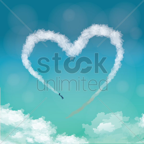airplane making heart in sky vector graphic