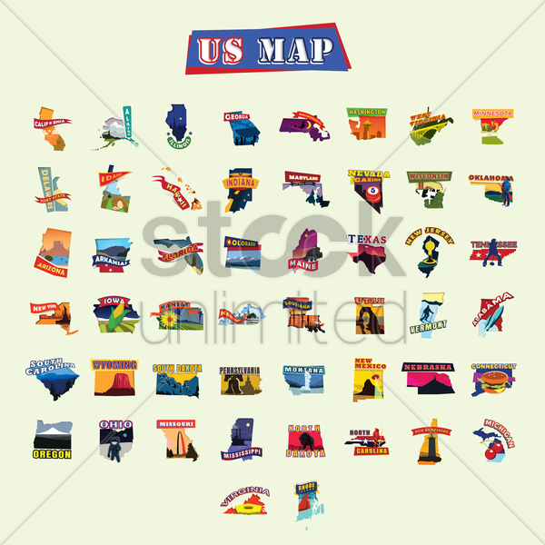 american states maps vector graphic