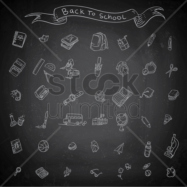 back to school set vector graphic