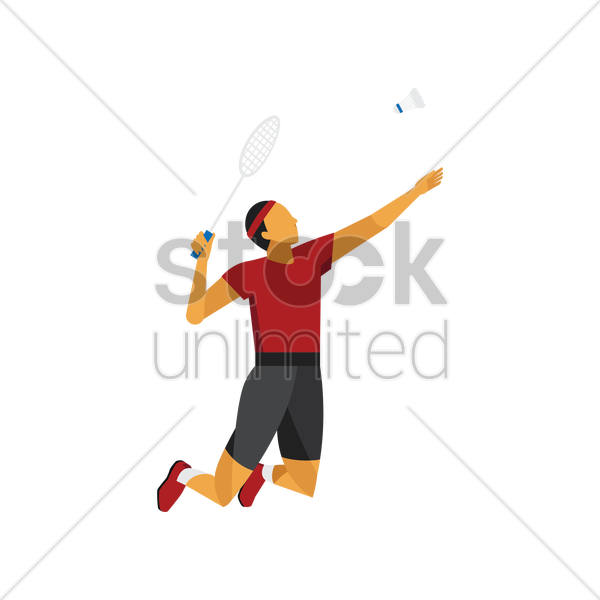 Badminton player in action Vector Image - 1815700 ... Badminton Player Png
