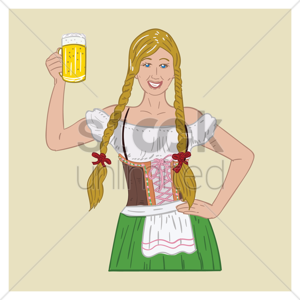 bavarian woman holding beer mug vector graphic