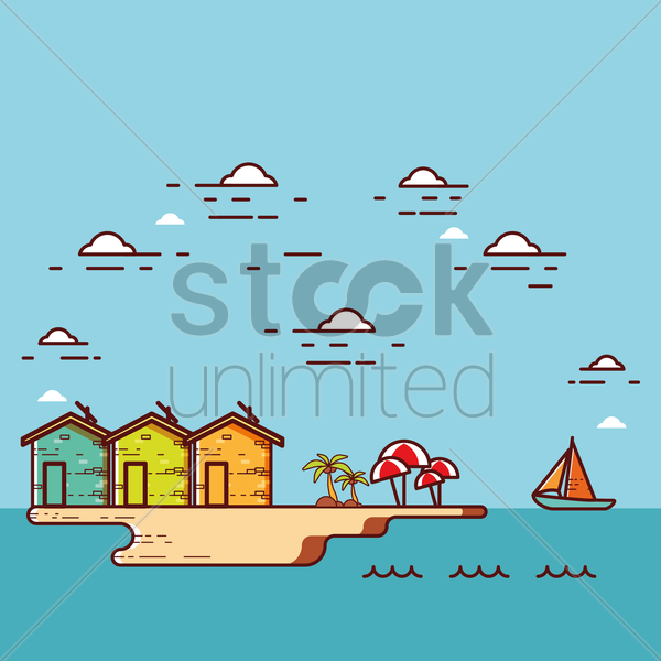 beach and houses vector graphic