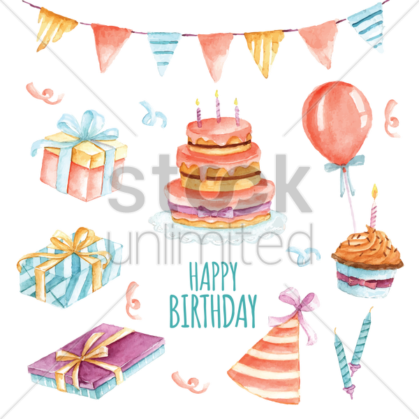 birthday icon set vector graphic