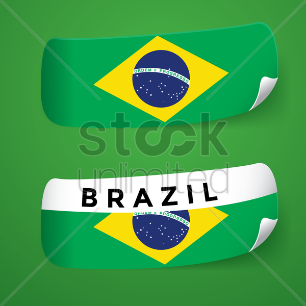 Brazil flag stickers vector graphic