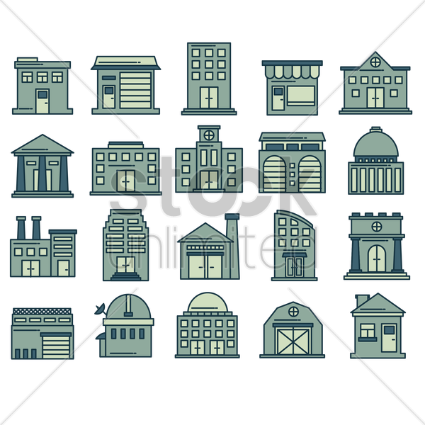 building icon set vector graphic