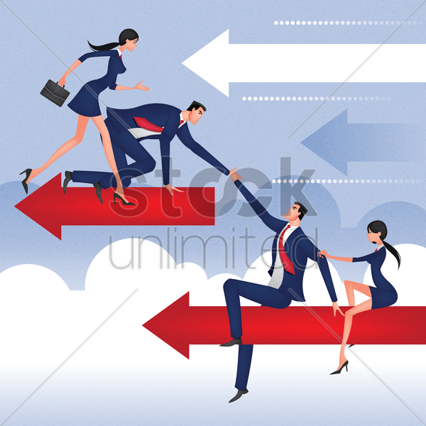 Helping Each Other: Business People Helping Each Other Vector Image