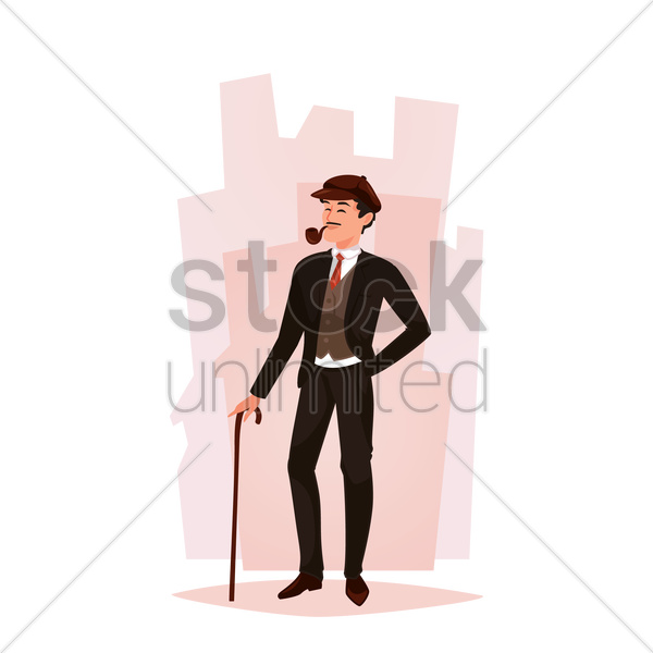 businessman standing with cane vector graphic