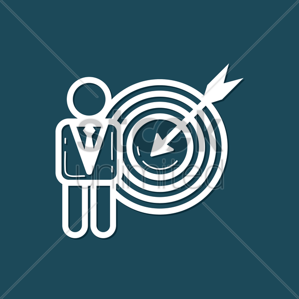 Free businessman with dartboard vector graphic