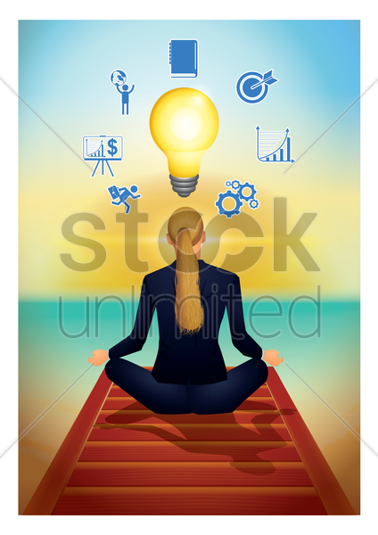 businesswoman meditating vector graphic