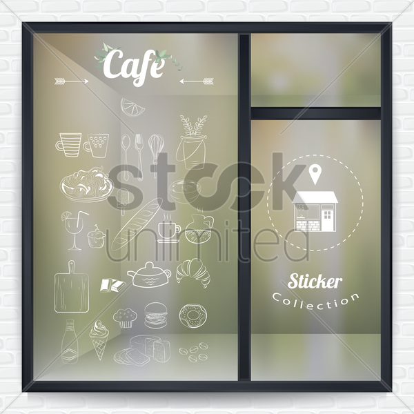 cafe sticker collection vector graphic