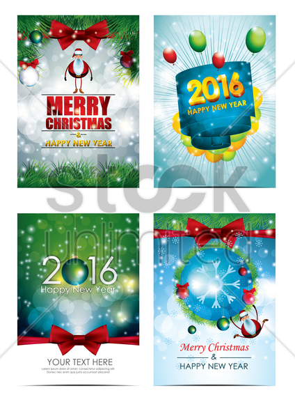 christmas and new year greetings set vector graphic