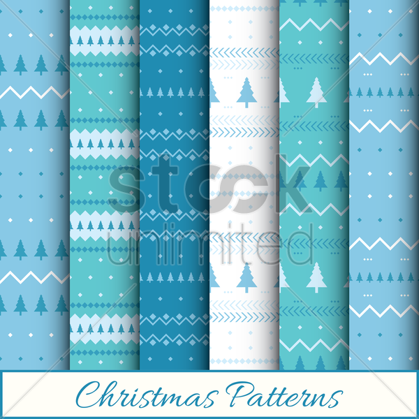 Free christmas patterns set vector graphic