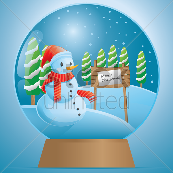 christmas snowglobe vector graphic
