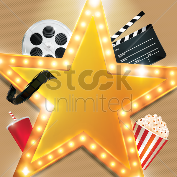 movie cinema background objects vector clipart film graphic movies stockunlimited clip sign theater theatre lights graphics designs vectors retro