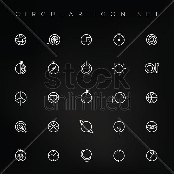 circular icon set vector graphic