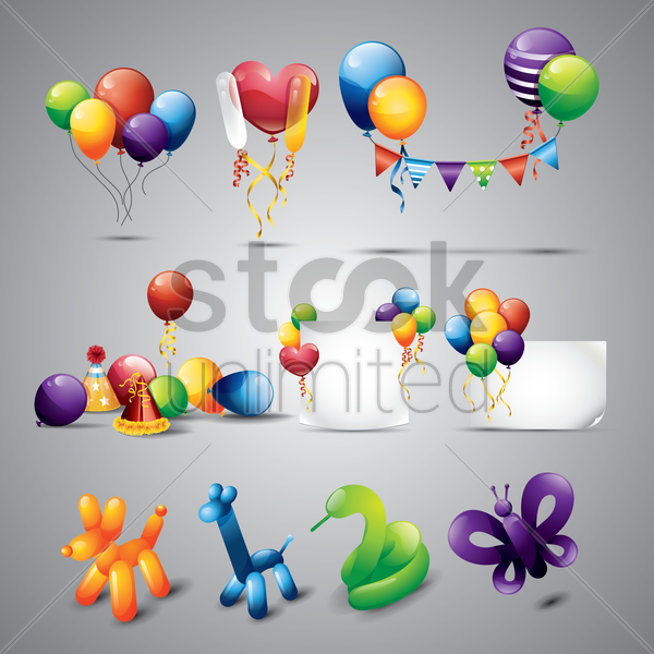collection of balloons and decoration objects vector graphic