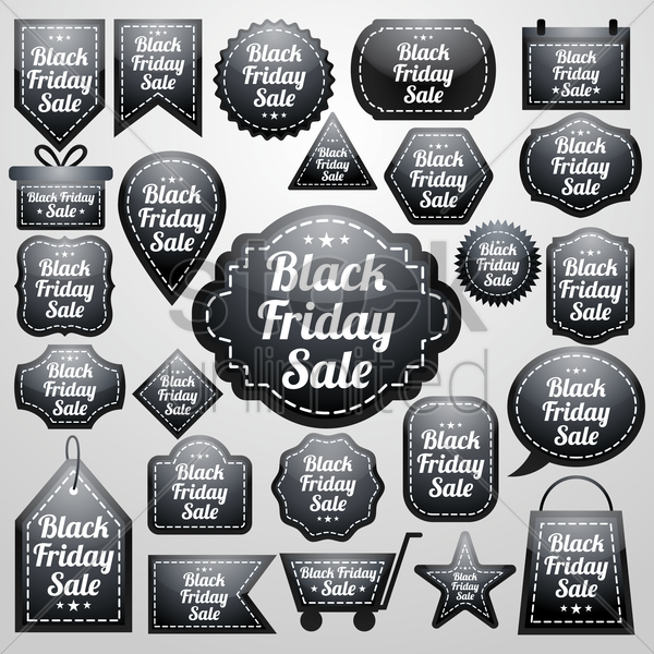 collection of black friday sale designs vector graphic