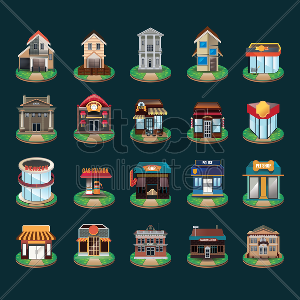 collection of buildings vector graphic
