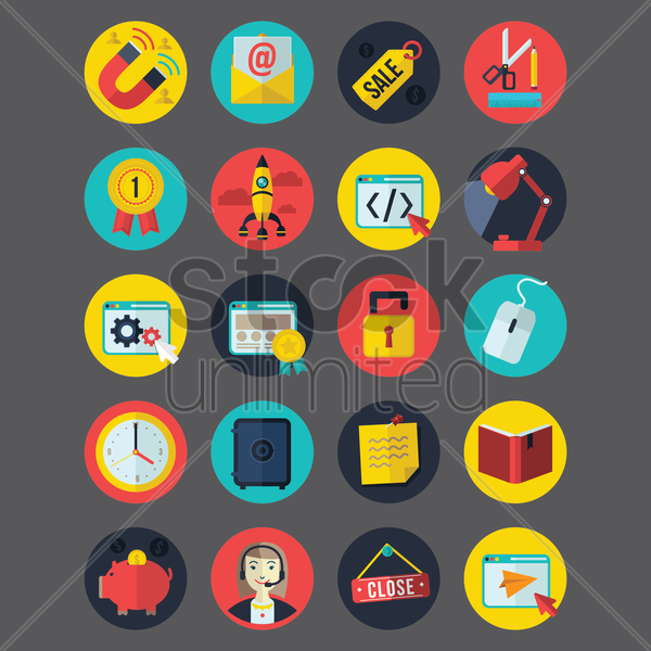 collection of business related icons vector graphic