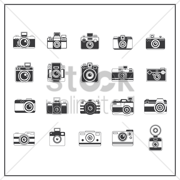 collection of camreras vector graphic