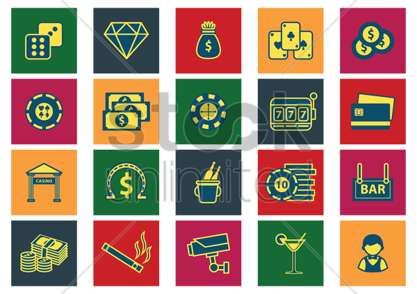 collection of casino icons vector graphic