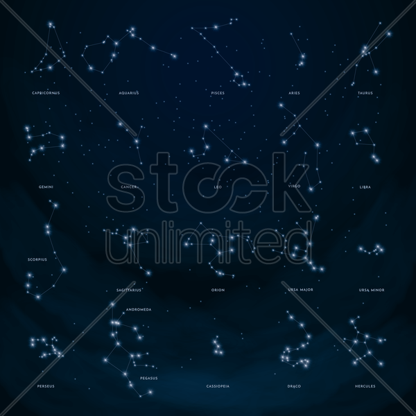Collection of constellations Vector Image - 1555404