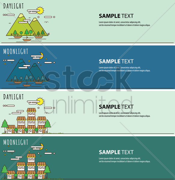 collection of day and night light banners vector graphic