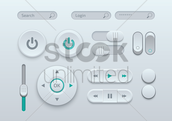 collection of media player buttons vector graphic